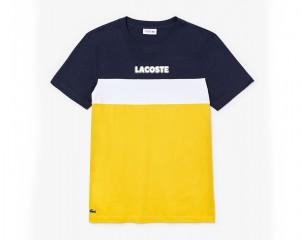 Camiseta de hombre Lacoste SPORT en punto de mezcla de algodón color block
