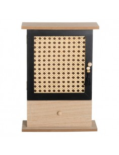 Caja Llavero con Cajón en DM y Ratán color Natural y Negro,