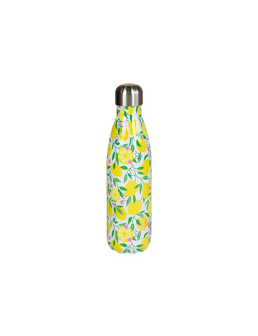 Botella termo de metal limón