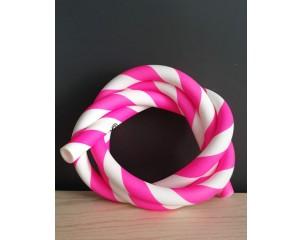 Manguera de silicona rayas rosa