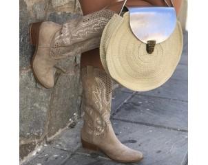 Bota cowboy brillo